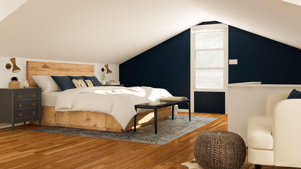 aranżacja sypialni ze skosem