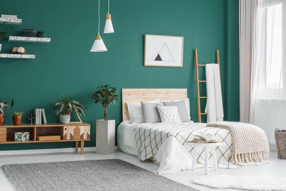 kolory w sypialni zielony