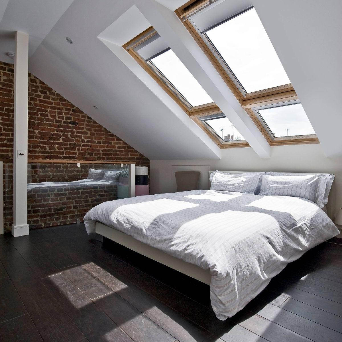 modernistyczna sypialnia ze skosem