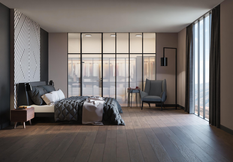 drewnopodobny gres podłogowy w sypialni