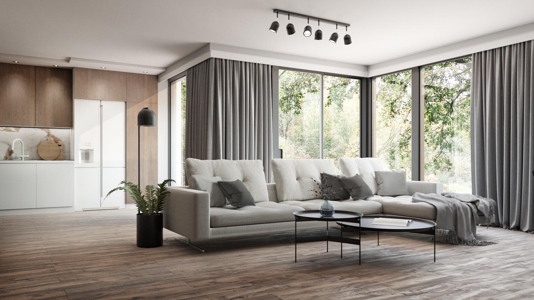 drewnopodobna płytka podłogowa w przestronnym salonie