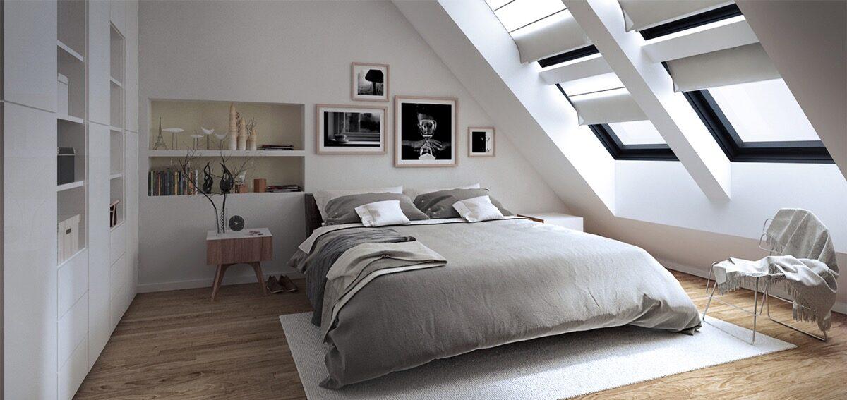piękna sypialnia ze skosem