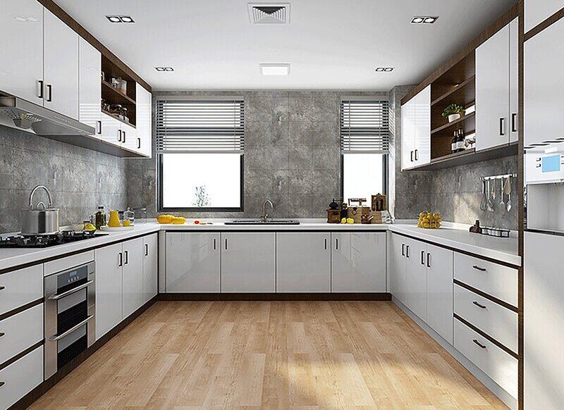 wygląd kuchni z panelami